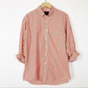 Vintage boyfriend shirt red white stripe J Crew
